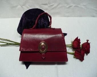 Hand-sewn Wine Red Clutch