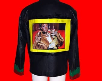 Gucci hand painted Leather jacket