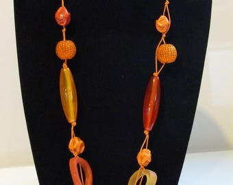 LARGE ORANGE BEADS LONG NECKLACE