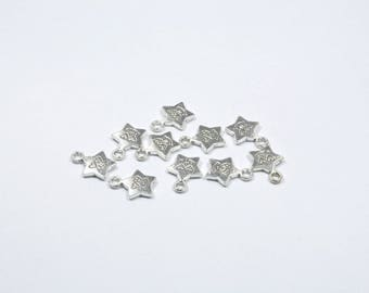 Set of 10 charms silver metal star