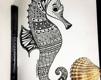 Zentangle Seahorse,  Mandala Seahorse , Seahorse Wall Art, Zentangle Seahorse Drawing, Black & White Seahorse Drawing,  Zen Art,
