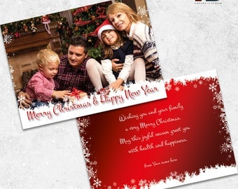 Happy Holidays Digital Card - Printable Christmas Greeting Card  With Your Family Photo - Two Sided Christmas Card DIGITAL FILE
