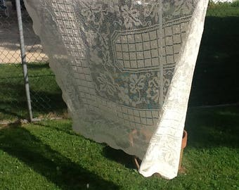 Vintage Woven Needle Lace Tablecloth, natural off white color