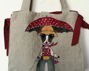 Hand painted linen industrial weaving front and back Tote Bag