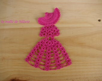 fuchsia pink crinoline applique crochet for scrapbooking