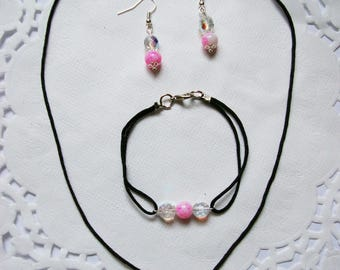 set necklace bracelet earrings pink and black