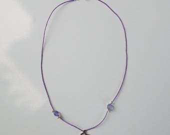 Silver Heart Necklace, pearl purple on purple cord