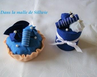 set of blue felt for dinette baking cakes
