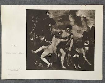 Titan. Venus and Adonis. 1920's antique print