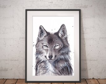 Art print Wolfin watercolor painting, Hand signed