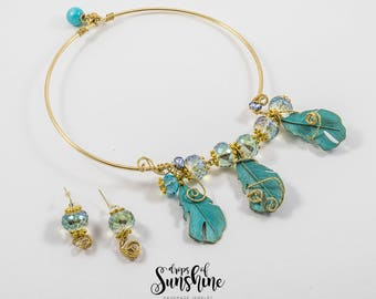 Fluttering over the Amazon necklace and earrings