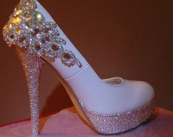 White bling bridal shoes