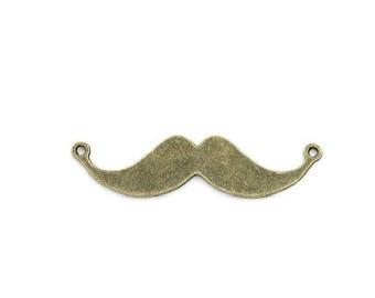 x 1 charm connector mustache metal bronze