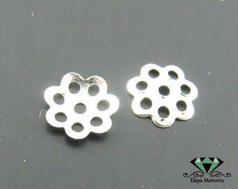 x 100 bead caps / bead caps silver 6mm