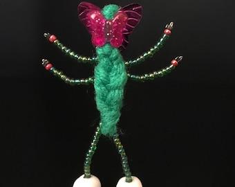 Li'l Green Flutterby | Tiny Crochet Butterfly Sculpture | Dainty Yarn Butterfly Figurine