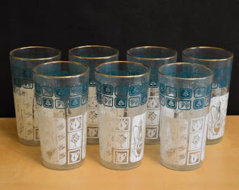 Set of 7 Vintage Anchor Hocking 11 oz Drinking Glasses, Aqua and White, Gold Rim, New in Box, 11 oz, Mid-Century Glassware