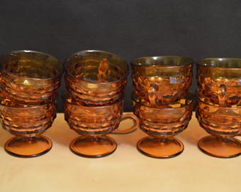 Set of 8 Vintage Indiana Glass Whitehall Amber 4 oz Cups, Cubist, Footed, 1970s