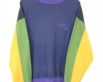 Rare!!! Kenzo Paris Golf Sweatshirt Pullover Spellout Embroidery Multicolors