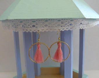 Tassels - coral circle earrings