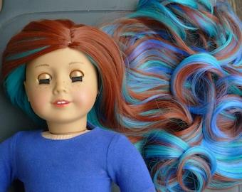 """Custom Doll Wig for 18"""" American Girl Doll Heat Safe Cap Size 10-11 Auburn Blue Aquamarine"""