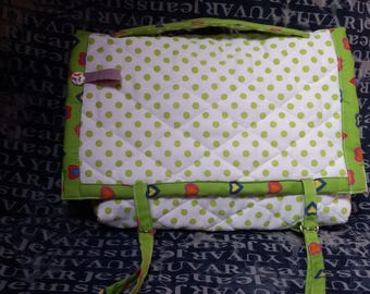 Small quilted fabric satchel