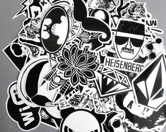 WB One Mixed Pack Stickers (x60) - Vinyl - Lifestyle Sticker - Black Sticker - White Sticker - Mixed Sticker - No Color Sticker - Blind