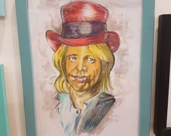 Tom Petty portrait. Rock legend. Music art. Musician artwork.