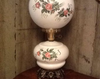vintage Milk Glass GWTW Parlor Lamp Pink Roses