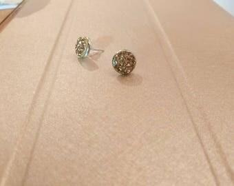 Stud Earrings rhinestone Swarovski Crystal Gold