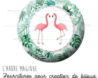 2 cabochons glue Flamingo Palm tree tropical tropic ref 1895 - 18 mm