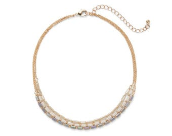 Pastel Beaded Gold Chain Choker Necklace