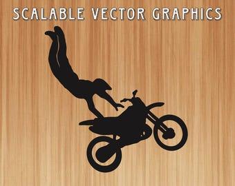 dirt bike svg, motorcycle cut file, dirtbike svg wireframe, dirtbike outline, engravable motorcyle, dirtbike rider, dirt bike jump
