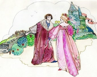 Painting nursery, Princess and prince paint for coasters, illustration, fairy tale
