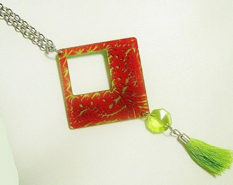 Celadon green and Red pendant necklace, boho, hand painted.