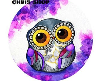 20mm OWL purple/white background