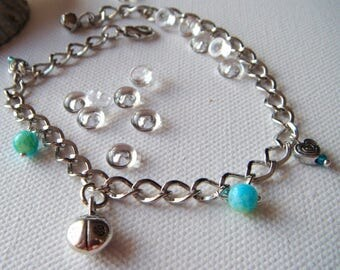 Bracelet silver Ladybug and hearts and turquoise beads