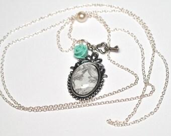 Necklace cabochon pendant, original drawing 'Flora'