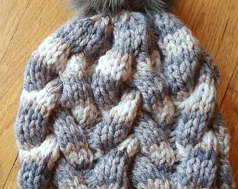 The Diane - handmade knit winter beanie with faux fur pom pom