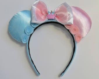 Sleeping Beauty Ears Headband Princess Aurora Inspired Make it Pink Make it Blue With Crown Accent