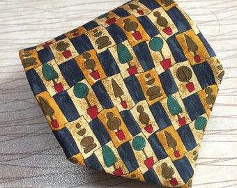 DUNHILL Tie 100% Silk Designer Novelty Pattern Orange Necktie Made in Italy