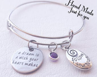 A dream is a wish your heart makes bracelet, Follow your heart, a dream is a wish, bracelet, bangle