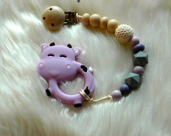 Lilac Cow Teether and Pacifier Clip