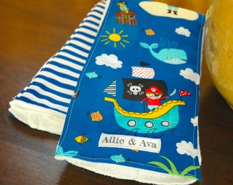 Ahoy Matey- Pirate Burpcloth Set-blue