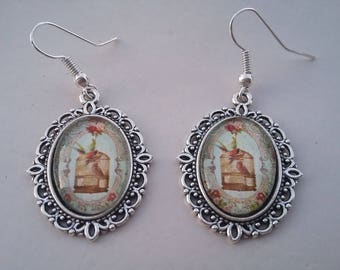 Pair of earrings cabochon a bird cage earrings