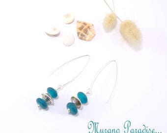 Silver earrings blue glass beads and silver