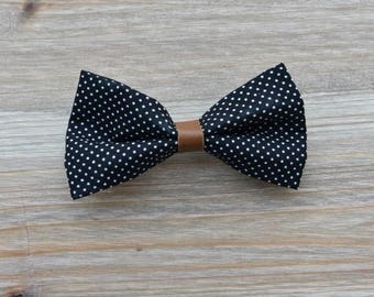 Barrette maxi black bow with white dots