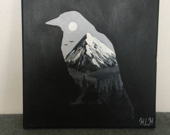 Raven silhouette painting
