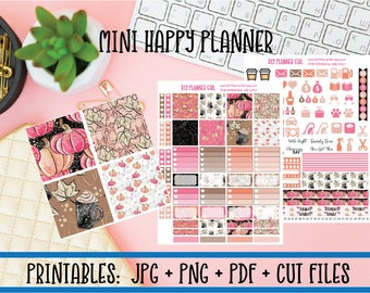 Pumpkin Latte Printable Planner Kit | Autumn Fall Coffee DIY Planner Stickers | Cut Line Files | Mini Happy Planner Stickers Printables