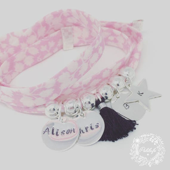 Bracelet GriGri XL Liberty with 4 custom ENGRAVINGS, Silver Star and tassel by Palilo