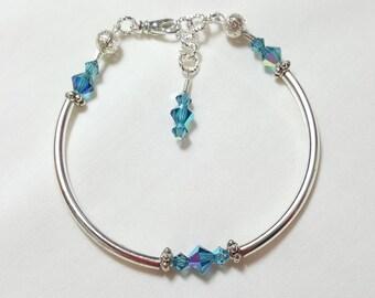 Indicolite Blue Crystal Bangle Style Bracelet